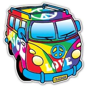 Peace Love Bus Rainbow Flag Car Bumper Sticker Decal 4.5