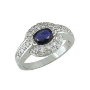 Aula 14K White Gold Oval Sapphire & Diamond Ring Jewelry