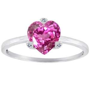 CandyGem 14k Gold Lab Created Heart Shape Pink Sapphire and Diamonds
