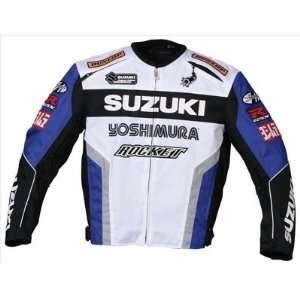 Mens Motorcycle Jacket White/Blue/Black/Silver Large L 0851 1204