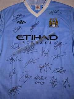 2012 Manchester Man City SIGNED shirt jersey Hm Aguero