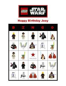 Lego Star Wars Birthday Party Game Bingo Cards