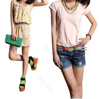 Vogue Candy Color Adjustable Low Waist Narrow Thin Skinny Leather Belt