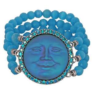 NEW KIRKS FOLLY SEAVIEW MOON MAGIC STRETCH BRACELET BLUE ZIRCON