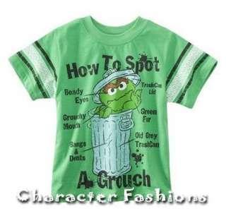 OSCAR THE GROUCH Short Sleeve Shirt Tee Size 24 Months 3T 4T 5T SESAME