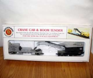 Bachmann ATSF Santa Fe Crane Car and Boom Tender N Scale Train Set