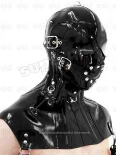 100% Latex Rubber 0.8mm Eye Mask Hood Neck Corset costume catsuit suit