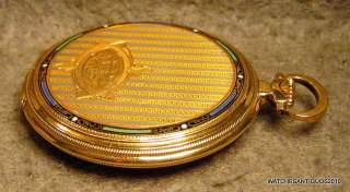 VINTAGE ZENITH POCKET WATCH ART DECO 18K SOLID GOLD ENAMEL CASE