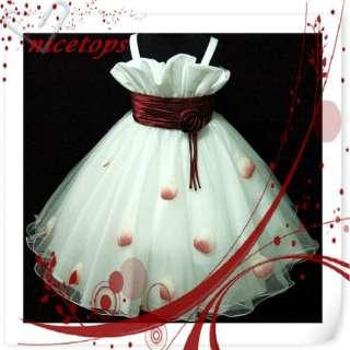Red White Wedding Bridesmaid Flower Girls Dress SZ 2 3 4 5 6 7 8 9 10T