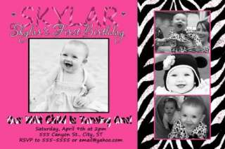 zebra hot pink 1st birthday invitation   this design is $1.00 per 4x6