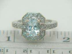 14K White Gold Aquamarine & Diamond Estate Ring