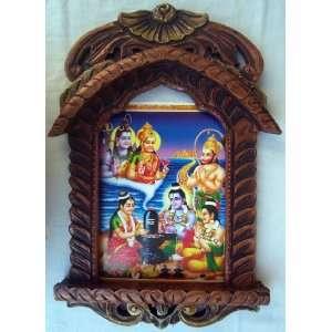 Lord Sita Ram & Laxman worshiping Shivling at sea end poster painting