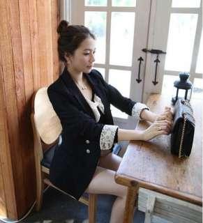 Cute Style Women Ladies Lapel Slim Suit Jacket Outwear Coat Black 1131