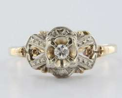 Antique Deco Diamond 14k Gold Ring Band Engagement Vintage Estate Fine