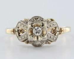 Antique Deco Diamond 14k Gold Ring Band Engagement Vintage Estate Fine