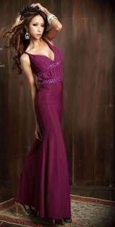 New Women Jewel Deep V neck Backless Evening Full Length Dress 3