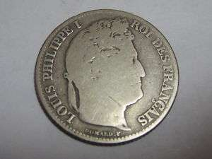 1845 (One) 1 Franc Silver Coin. France