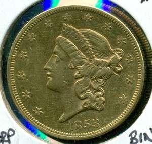 1853 United States $20 Liberty Head Gold Eagle   CRISP XF+  SHARP
