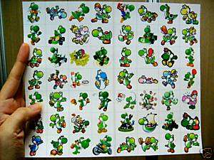 56 DIFFERENT SQUARE SUPER MARIO STICKERS ALL YOSHI ONLY