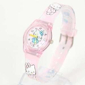 Hello Kitty Round Wristwatch Wrist Watch Band Pink Toys