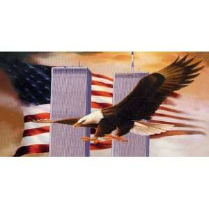 Airbrushed License Plate   American Flag   Eagle   9 11 License Plate