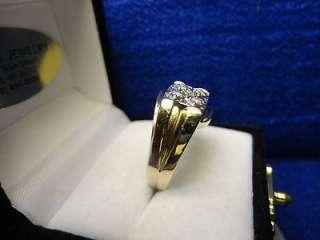 VINTAGE MENS 10K YELLOW GOLD GENUINE DIAMOND (1/15 CT TW) RING, SIZE