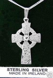 Sterling Silver Warrior Celtic Cross Necklace Pendant Mens Irish