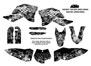 KTM SX/SXF 125 525/EXC   XC Graphics Decal Kit 9500Met
