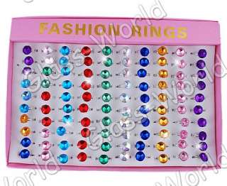 WHOLESALE 100pcs Acryl&Alloy 12MM Bead Adjustable Rings