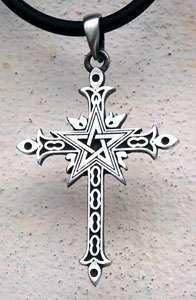 Gothic Pentagram Cross Silver Pewter Pendant w Choker