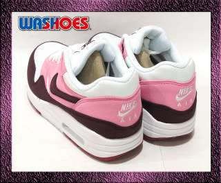 2012 Nike Wmns Air Max 1 White Vivid Pink Cooler Gym Red Rose US 5.5