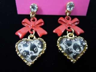 NWT Betsey Johnson Heart & Butterfly Knot Stud Earrings 8 patterns