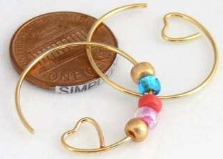 23mm Gold Plate Open HOOP w Heart Earring Findings 10