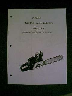 POULAN CHAIN SAW 25D PARTS MANUAL