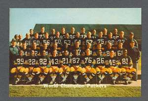 Green Bay Packers 1967 World Champions signed postcard