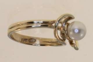 10k Yellow gold pearl ring estate vintage 3.1g Womens Ladies fashion