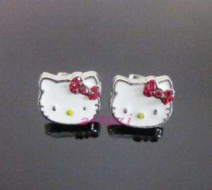 Hello Kitty red bow crystal white earring earbob xmas gift E31
