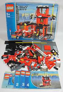 Lego 7240 Fire Station Instructions Box Long Axle Minifigures