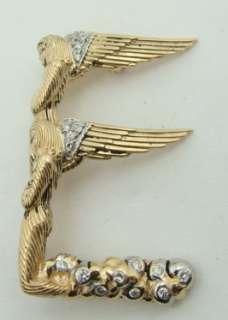 Designer ERTE 14K Yellow Gold Diamond Pin Pendant