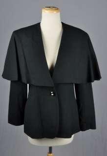Avant Garde Black Wool Deep V single button Capelet Jacket sz 8