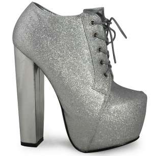 WOMENS LADIES GLITTER LACE UP CONCEALED PLATFORM HIGH BLOCK HEEL SHOES