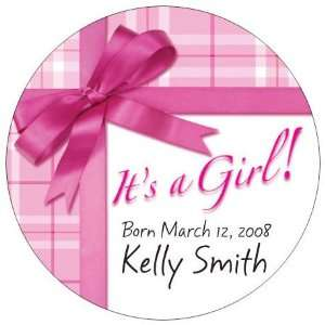 Wedding Favors Its a Girl Gift Wrap Design Personalized Travel Candle