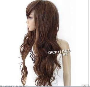 Curly Stylish Women Long Wavy Brown Party Hair wig B04