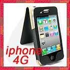 BLACK LEATHER FLIP CASE COVER FOR APPLE iPHONE 4G 4 4TH