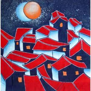 High Quality Chinese Batik Tapestry Red House Moon