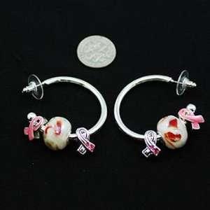 Breast Cancer ~ Pink Ribbon Hoop Earrings ~ Sliding Charms