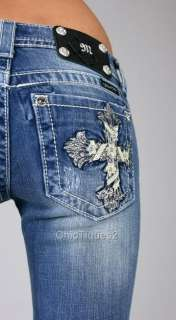 Miss Me Jeans Leather Rhinestone Torchier Cross Denim Boot Cut JP5445B