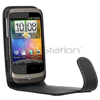 Black Leather Flip Case Pouch Cover For HTC Wildfire G8