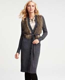 NEW ANN TAYLOR FAUX FUR TRIMMED LONG CARDIGAN SWEATER COAT PXXS NWT $
