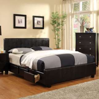 Burlington Espresso Finish Faux Leather Bed Frame